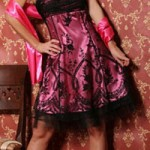 pink and black occasion dress for woman