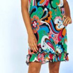 party dress with multiple-colors patterns