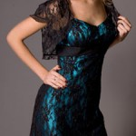 aquamarine and black prom dress