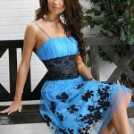 blue and black short prom dress